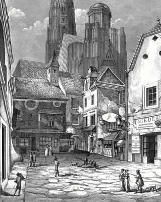 Obraz Wiedeń, z katedry św Zwettlhof o 1842, szablon miedzioryt