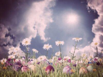 Obraz Wielkanocny Archiwalne tła z jaj i kwiaty