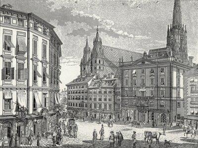 Obraz Wien, Stock-im-Eisen-Platz Ende 18. Jh., Kupferstichvorlage