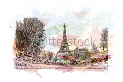 Obraz Wieża Eiffla jest kutą żelazną wieżą na Champ de Mars w Paryżu. Akwarela splash z ręcznie rysowane szkic ilustracji w wektorze.