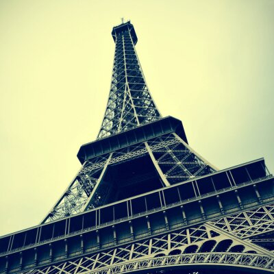 Obraz Wieża Eiffla w Paryżu, Francja z efektu retro