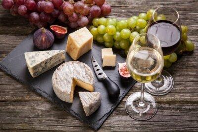 Obraz Wino i sery