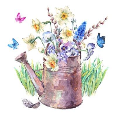 Obraz Wiosna bukiet z żonkile, bratki, Muscari i motyli