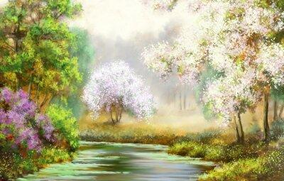 Obraz Wiosna, drzewa, rzeki, pejzaże