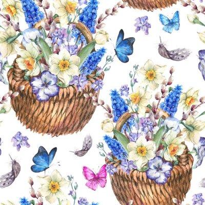 Obraz Wiosna szwu z żonkili w wiklinowym