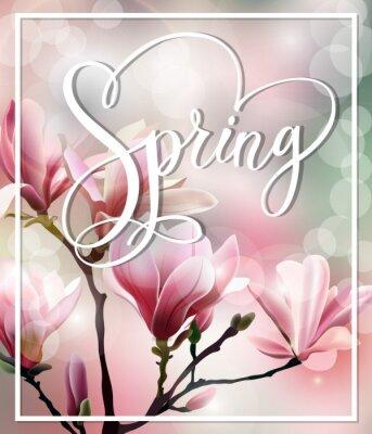 Obraz Wiosna tekstu z kwiat brunch Magnolia ze skutkiem rozmyte. Wiosna w tle. Szablon Vector.