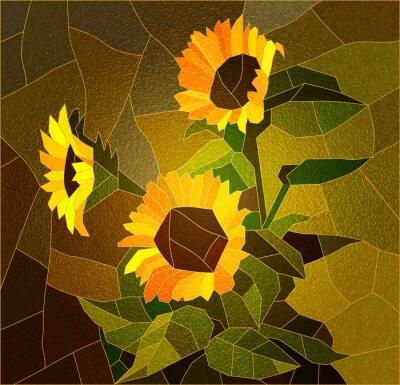 Obraz Witraż z słoneczniki