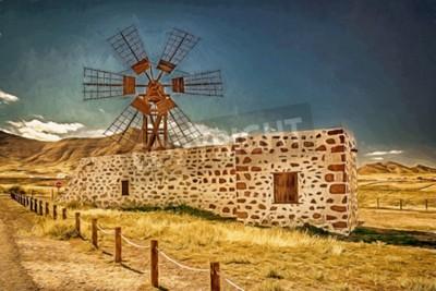 Obraz Wizerunek wiatraka w Fuerteventura, Wyspy Kanaryjskie, Hiszpania