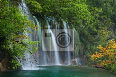 Wodospad, jezioro i drzewo pomarańczowe