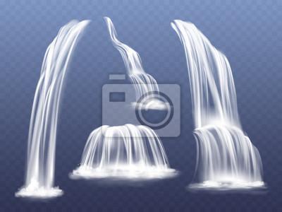 Obraz Wodospad lub woda kaskada ilustracji wektorowych. Na białym tle realistyczny zestaw płynących strumieni spadających ze skał górskich z rozprysków i odprysków na przezroczystym tle