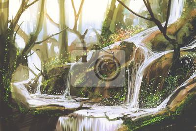 Obraz Wodospad w lesie, ilustracja malarstwo