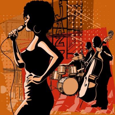 Obraz Wokalistka jazzowa z saksofon i kontrabas gracza