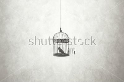 Obraz wolność minimalna koncepcja, ptak w otvartej klatce