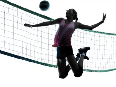 Obraz woman volleyball players isolated silhouette