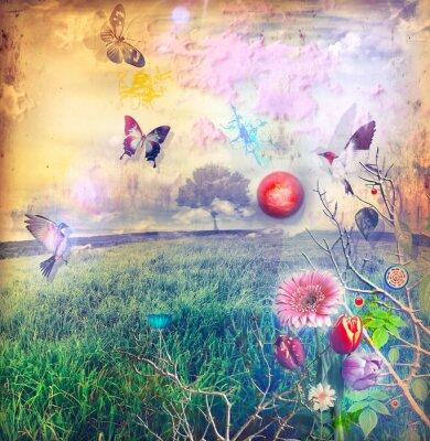Obraz Wonderland z kolorowymi kwiatami