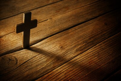 Obraz wooden cross on wood background