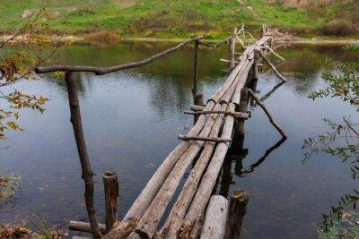 wooden log bridge