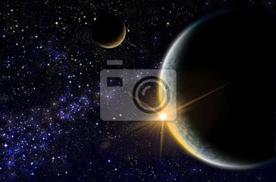 Obraz Wschód słońca gdzieś w przestrzeni