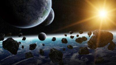 Obraz Wschód słońca nad grupą planet w przestrzeni kosmicznej