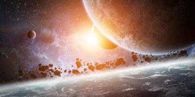 Obraz Wschód słońca nad planety Ziemi w przestrzeni kosmicznej