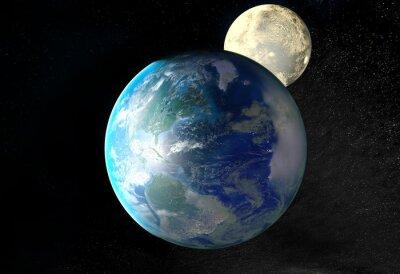 Obraz Wschód słońca nad Ziemi widziane z kosmosu