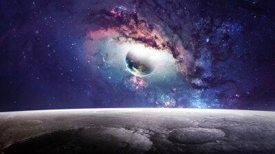 Obraz Wszechświat sceny z planet, gwiazd i galaktyk w kosmosie ukazujących piękno przestrzeni kosmicznej. Elementy dostarczone przez NASA