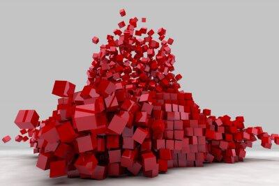 Obraz Wybuch pole czerwonych kostek. 3D renderowanie obrazu.