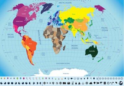 Obraz wysokie szczegółowe mapy świata