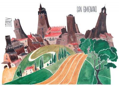 Obraz Wzgórza Toskanii. Stylizowana przyroda i architektura Włoch. Ilustracja akwareli.