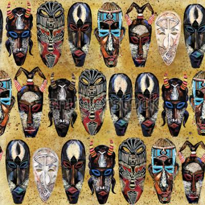 Obraz wzór afrykańskiej maski. ręcznie rysowane etniczne plemienny totem tło
