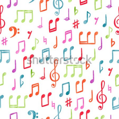 Obraz Wzór bezszwowe kolorowe nuty. Muzyczne tło akwarela