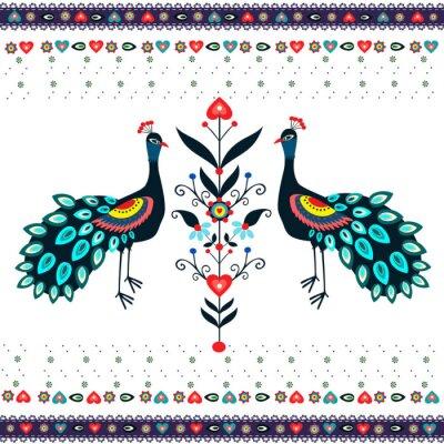 Obraz Wzór haftu z pawiami