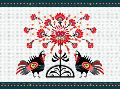 Obraz Wzór ludowy z indykami