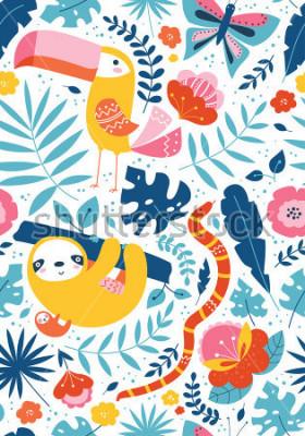 Obraz Wzór roślinny z zwierzęcymi charakterami, pieprzojad, opieszałość, wąż, motyl