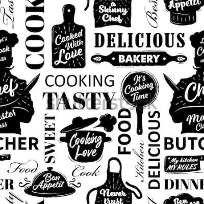 Obraz Wzór z gotowania przedmiotów. Ilustracji wektorowych