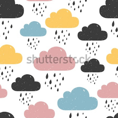 Obraz Wzór z kolorowych deszczowych chmur. Ilustracji wektorowych