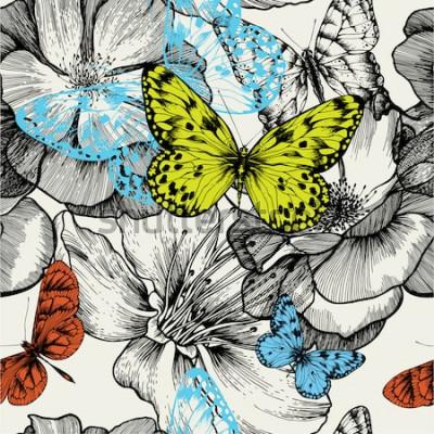 Obraz Wzór z kwitnących róż i latających motyli, rysunek. Ilustracji wektorowych.