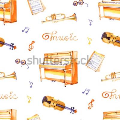 Obraz Wzór z ręcznie rysowane instrumenty muzyczne na tekstury tła akwarela.