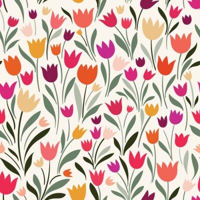 Obraz Wzór z ręcznie rysowane tulipany