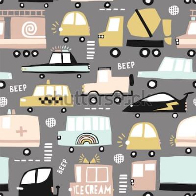 Obraz Wzór z uroczych samochodów. Cartoon samochody, włazy drogowe, zebra wektor ilustracja skrzyżowania. Idealny do tkanin dziecięcych, tkanin, tapet dziecięcych. Ilustracja wektorowa