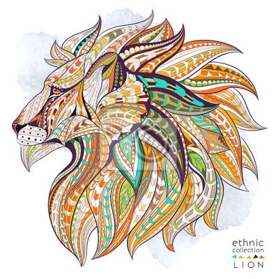 Obraz Wzorzyste głowa lwa na tle grunge. Afrykański / indian design / totem / tatuaż. Może być stosowany do projektowania t-shirt, torby, pocztówka, plakat i tak dalej.