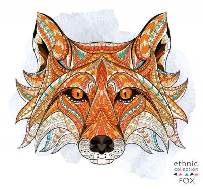 Obraz Wzorzyste głowę lisa czerwonego na tle grunge. Afrykański / indian design / totem / tatuaż. Może być stosowany do projektowania t-shirt, torby, pocztówka, plakat i tak dalej.