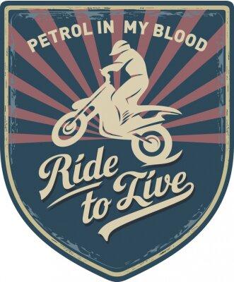 Obraz Мотоциклист, Ездить, чтобы жить, Бензин в моей крови, мотоцикл, Мотокросс, нашивка, иллюстрация