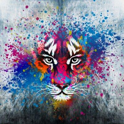 Obraz кляксы на стене.фантазия с тигром