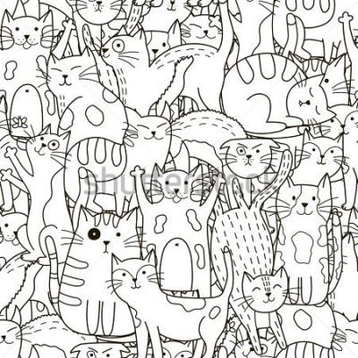 Obraz Doodle koty wzór. Czarno-białe słodkie tło. Doskonały do kolorowania książek, pakowania, ładowania, tkanin i tekstliów. Ilustracji wektorowych