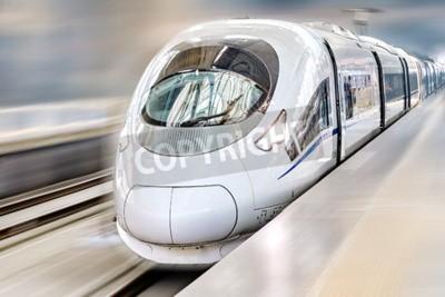 Obraz Hi-Speed nowoczesny pociąg pasażerski. Motion efekt.