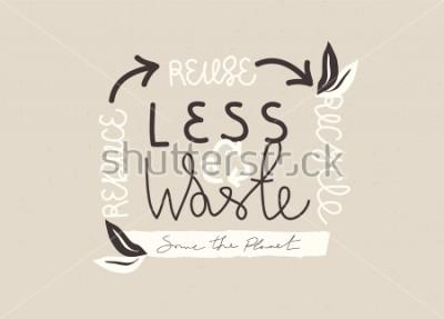 """Obraz Ręcznie rysowane slogan """"LESS WASTE"""" typografia. Wektor koncepcja Eco zero odpadów ilustracja."""