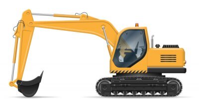 Obraz Yellow excavator with view from side isolated on white background. Construction vehicle vector mockup, easy editing and recolor