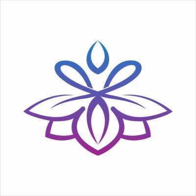 Obraz yoga logo design stock. human meditation in lotus flower vector illustration in purple color