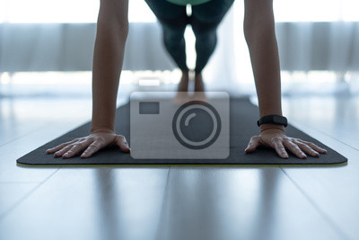 Obraz Young sporty woman standing in plank pose on fitness mat
